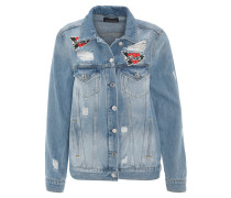 Jeansjacke, Stickereien, Destroyed-Look, Blau