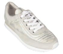 """Sneaker """"Aki 03"""", Leder, Metallic-Look, Weiß"""