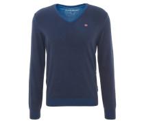 Pullover, V-Ausschnitt, Baumwolle, Blau