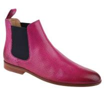 Chelsea Boots, Leder, Lochmuster, Pink