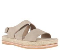 Sandaletten, Leder, Klettverschluss, Bast-Sohle, Beige