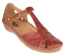 Sandalen, Leder, zweifarbiges Design, Beige