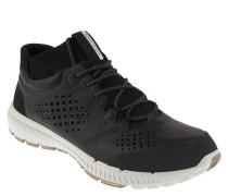 Sneaker, Knit-Stil, Leder, griffige Sohle, Schwarz