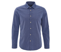 Freizeithemd, Langarm, Baumwolle, Kent-Kragen, Blau