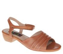 Sandaletten, Leder, Falten-Optik, Blockabsatz, Braun