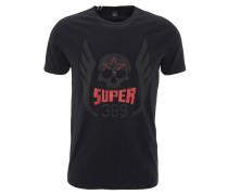 T-Shirt, Totenkopf-Print, Baumwolle, Schwarz