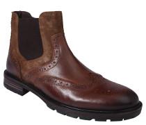 Chelsea Boots, Leder, Budapester-Stil, Reißverschluss, Braun