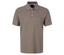 Poloshirt, aufgesetzte Brusttasche, gerippte Ärmelabschlüsse, Grau