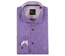 Businesshemd, Blumen-Muster, Baumwolle, bügelleicht, Lila