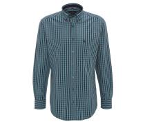 Freizeithemd, Karo-Muster, Brusttasche, Langarm, Logo, Grün