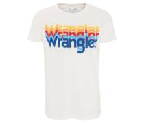 T-Shirt, mehrfarbiger Marken-Print, Rundhals, Baumwoll-Mix, Weiß