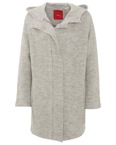 Mantel, Kapuze, Ziertaschen, Woll-Mix, Grau