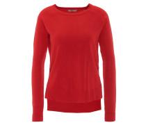 Pullover, uni, verlängerter Rücken, Rot