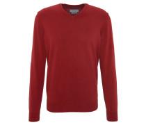 Pullover, V-Ausschnitt, einfarbig, Rot