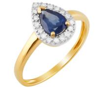 Diamant-Ring mit Saphir Gelbgold 585