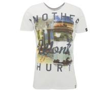 T-Shirt, Front-Print, gerollte Säume, Baumwolle, Weiß