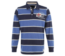 Poloshirt, Langarm, Streifen, Print, Blau