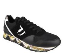Sneaker, Leder, Metallic-Optik, Laufsohlen-Print