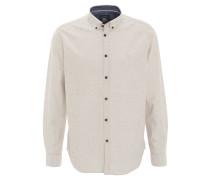 Freizeithemd, meliert, Button-Down-Kragen, Logo-Stickerei, Beige