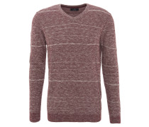 Pullover, Rundhalsausschnitt, Baumwolle, meliert, Rot
