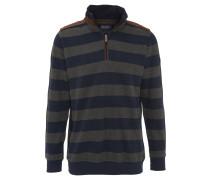 Sweatshirt, Blockstreifen, Veloursbesatz, Paspeln