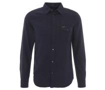 Freizeithemd, reine Baumwolle, Brusttasche, Knopfleiste, Blau