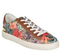Sneaker, florales Muster, Leder-Details, goldenes Fersen-Element, Mehrfarbig