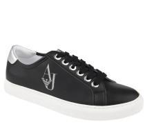 Sneaker, Glitzer-Logo, abgesetzte Fersenkappe, Schwarz