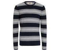 Pullover, Melange, Streifen, Rollsaum