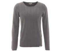 Pullover, Rundhalsausschnitt, Fischgrät-Struktur, Grau