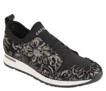 Sneaker, Pailletten-Besatz, florale Stickerei, Schlupf, Schwarz