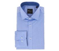 Businesshemd, Slim Fit, uni, Struktur, Blau