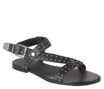 Sandalette, uni, Leder, Nieten, Schnalle, Schwarz