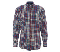 Freizeithemd, Button-Down-Kragen, kariert, Baumwolle, Rot