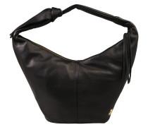 Handtasche, Zierbänder, Dekoknoten, Emblem, Schwarz