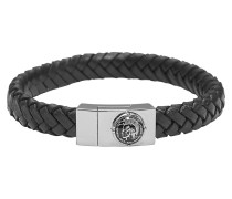 Armband Leder schwarz mit Edelstahl DX0837040