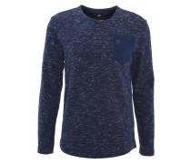 Pullover, Strick Baumwolle, Brusttasche, Melange, Blau