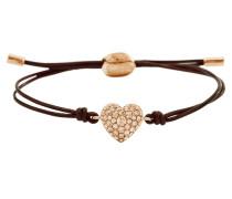 Armband Glitz Heart Textil braun rosevergoldet JF01153791