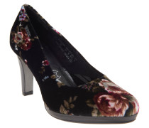 Pumps, florales Motiv, Fleece, Schwarz