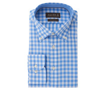 Businesshemd, Custom Fit, Button-Down-Kragen, Blau