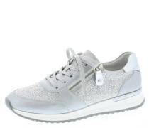 Sneaker, Veloursleder, Strass, Reißverschluss, Schnürung, Blau