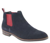Chelsea-Boots, Leder, Gummizug in Kontrastfarbe, Blau