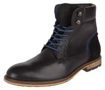 Stiefel, Schnürung, Profilsohle, Leder, leichter Absatz, Schwarz