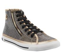 Sneaker, Glitzergarn, Logo-Emblem, Reißverschluss, Gold