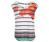 """T-Shirt """"Macarena"""", Blumenmuster, Streifen, Weiß"""