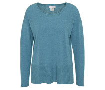 Pullover, uni, Rippbündchen, offene Seiten, Kaschmir, Blau