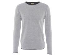 Pullover, Rollsaum, meliert, Baumwolle, Grau