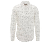 Freizeithemd, Punkte-Muster, Baumwolle, Weiß