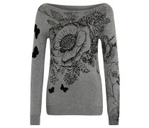 "Pullover ""See"", Strass, Metallic-Look, Grau"