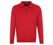 Sweatshirt, Stehkragen mit Reißverschluss, Aufnäher, Rot